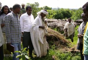 Ethiopian farmers receiving beekeeping training